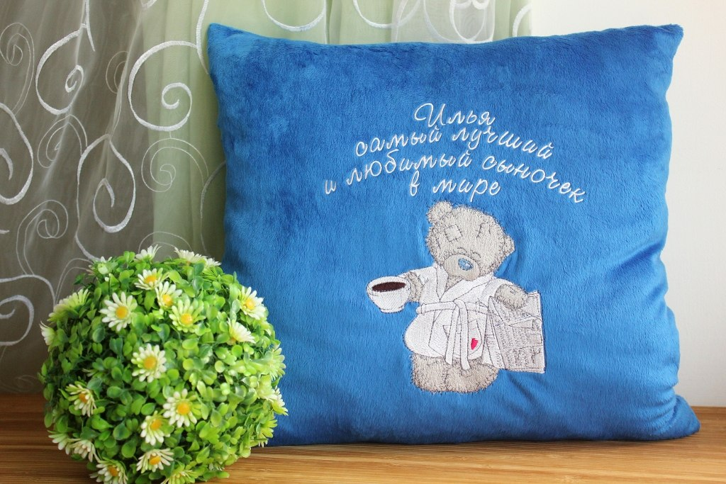 Teddy Bear favourite tea and evening newspaper design on pillowcase embroidered