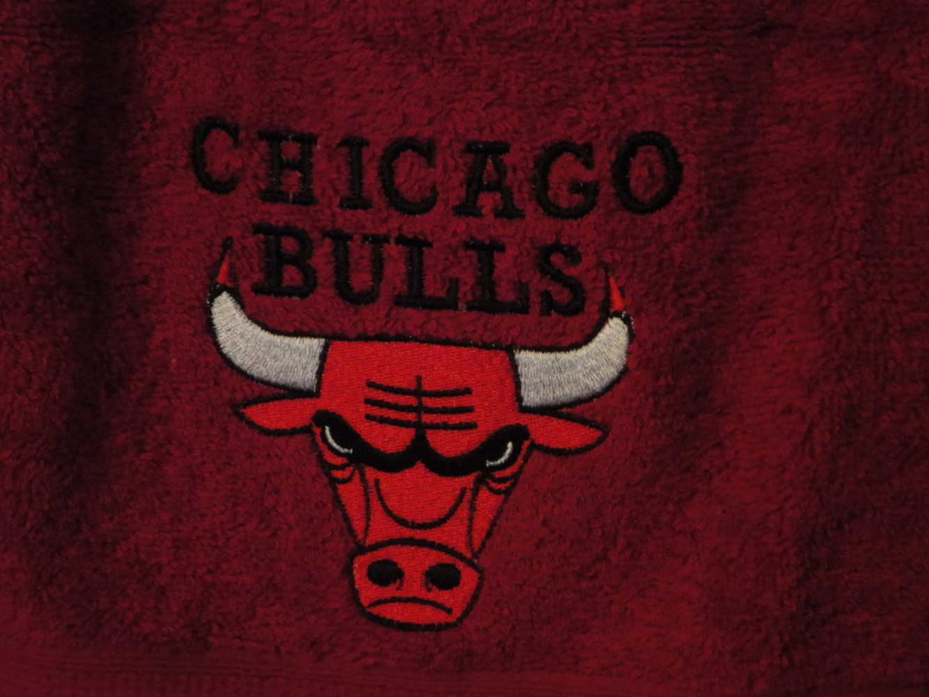 Embroidered Chicago Bulls logo on towel