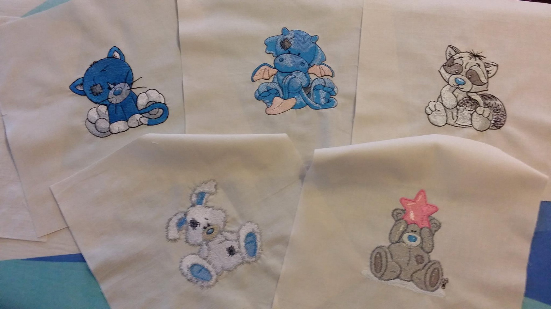 Tatty teddy bear and his blue nose friends embroidered designs