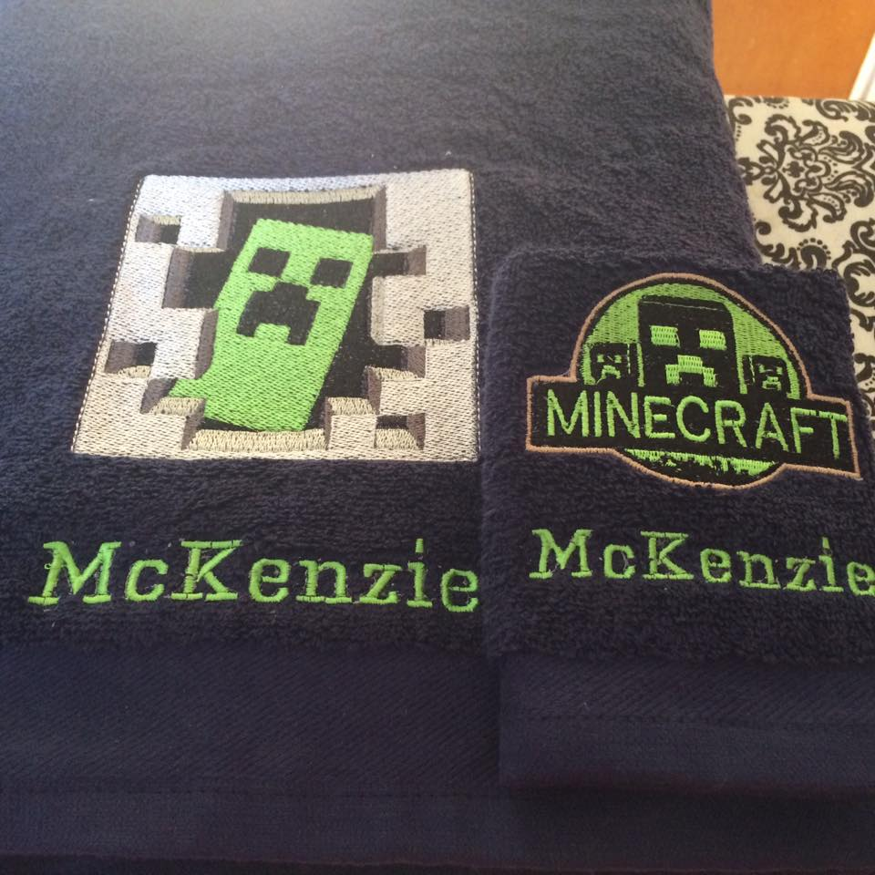 Minecraft Creeper in your door embroidered towels