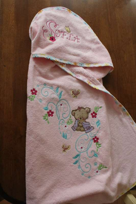 Newborn wrap with Teddy bear after shower machine embroidery design