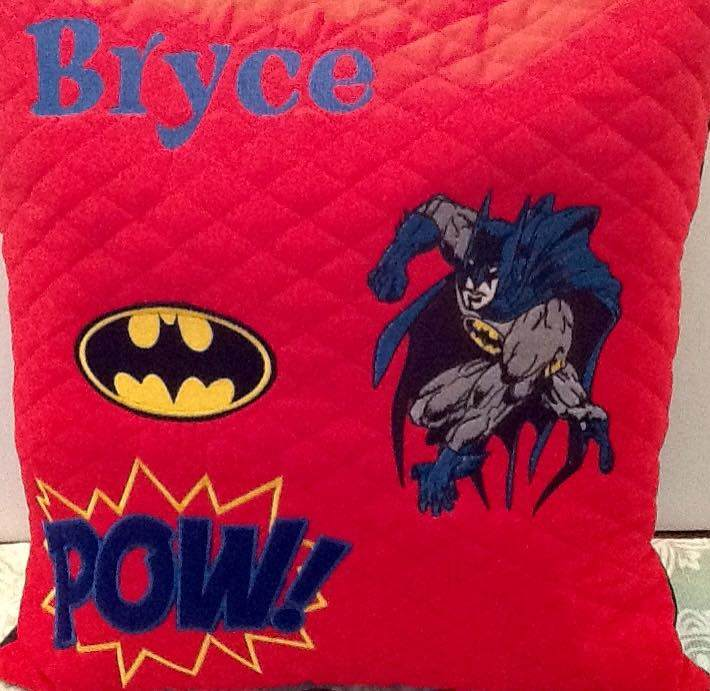 Cushion with Batman embroidery design