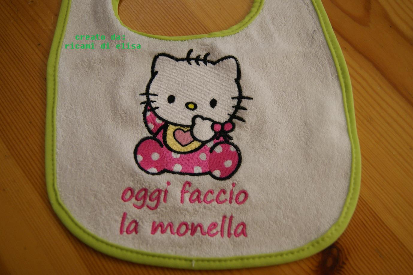 Embroidered Hello Kitty baby bib design on bib