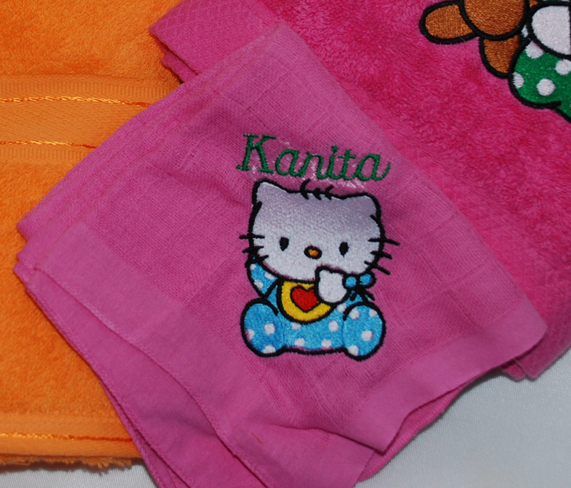 Hello Kitty embroidered on pink towel