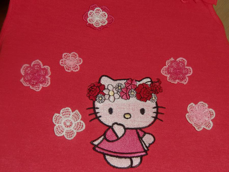 Hello Kitty with flowers embroidered design