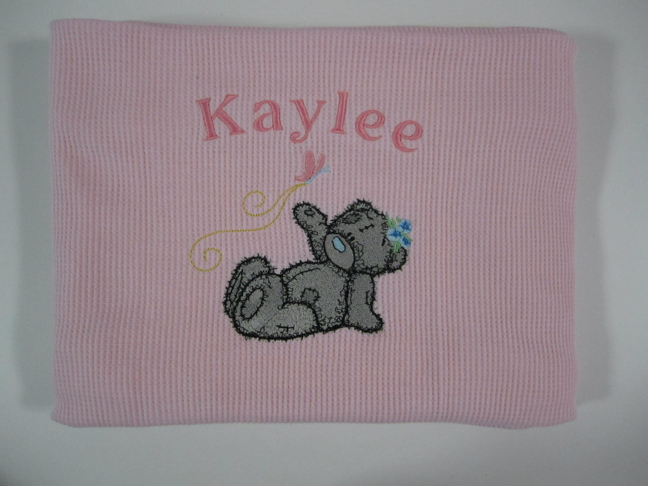 Teddy bear good flight my friend design on towel embroidered