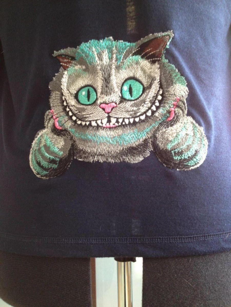 Cat  from Alice in Wonderland embroidered