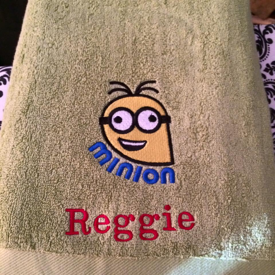 Embroidered beith bath towel with Crazy Minion design on it
