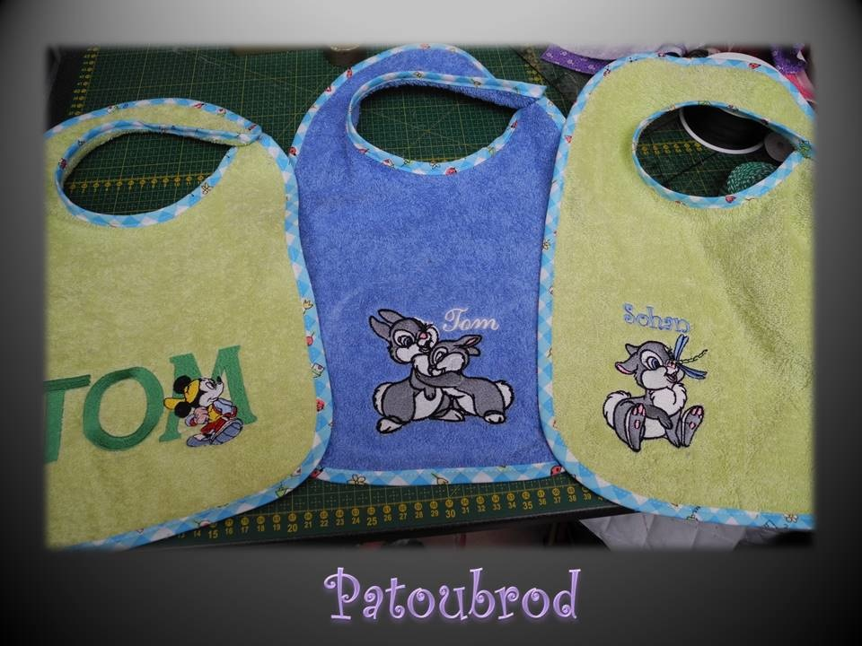 Embroidered bibs with Mickey Mouse and bunnies