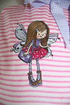 Little Fairy gold hair embroidery design on bag