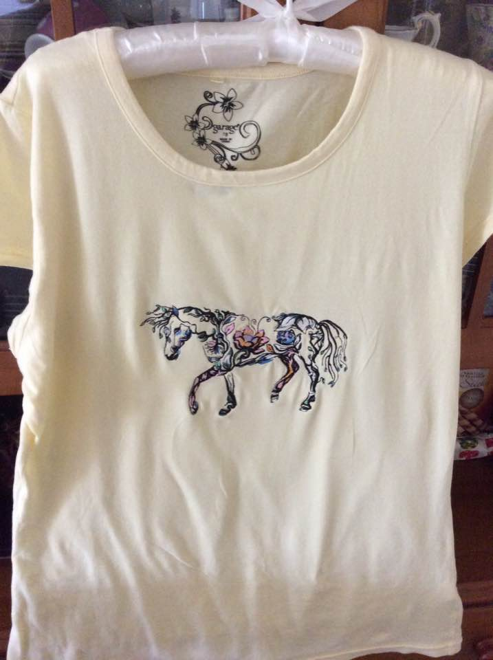 Floral horse embroidery design on t-shirt
