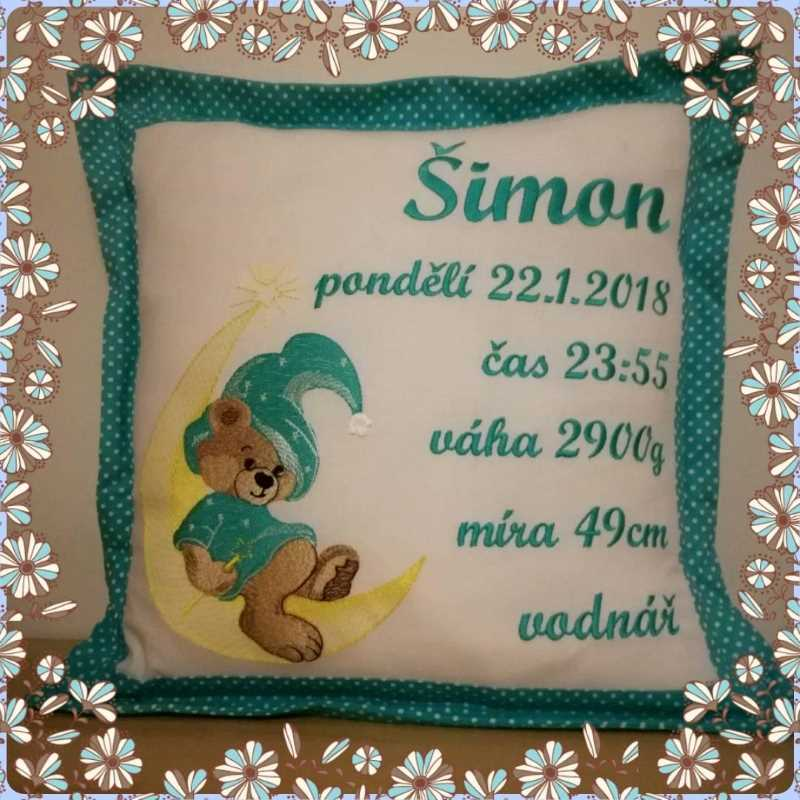 Sofa cushion with Magic Teddy toy embroidery design