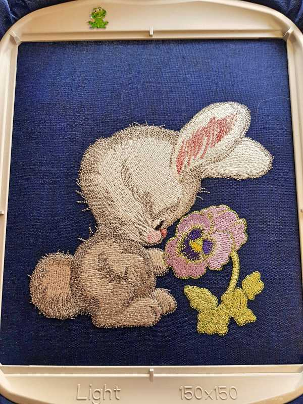 In hoop embroidered bunny design