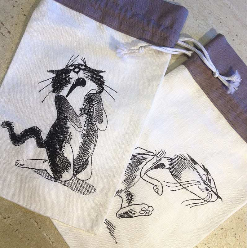 Cotton bags with funny cats free embroidery designs