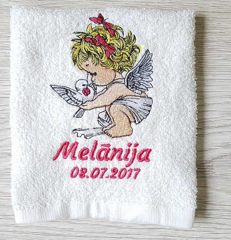 Bath towel with Angel embroidery design