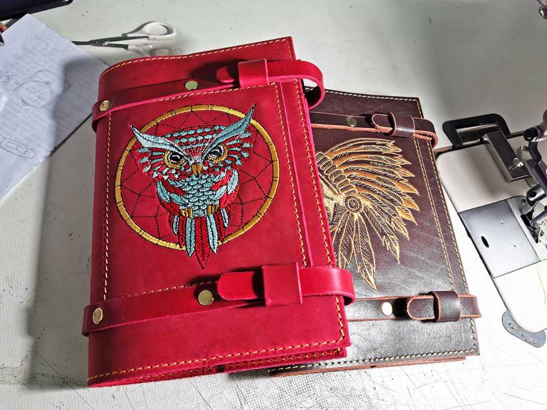 Embroidered leather covers for diary with skull and owl design