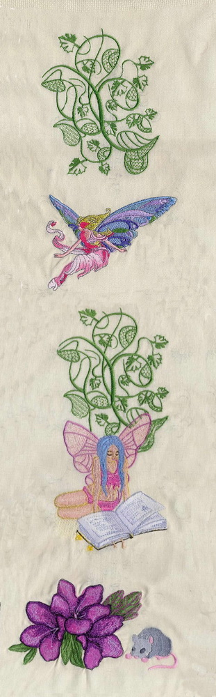 Flowers and fairies embroidered