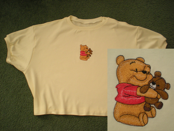 Baby Pooh with toy design on t-shirt embroidered