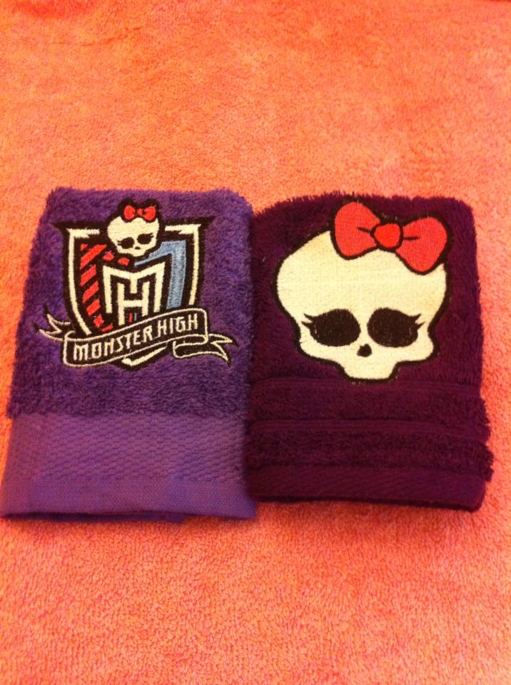 Embroidered Monster High designs on towels