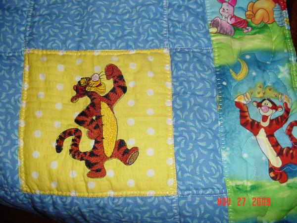 Tigger embroidered on quilt