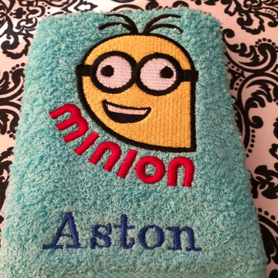 Cute embroidered Crazy Minion on bath towel