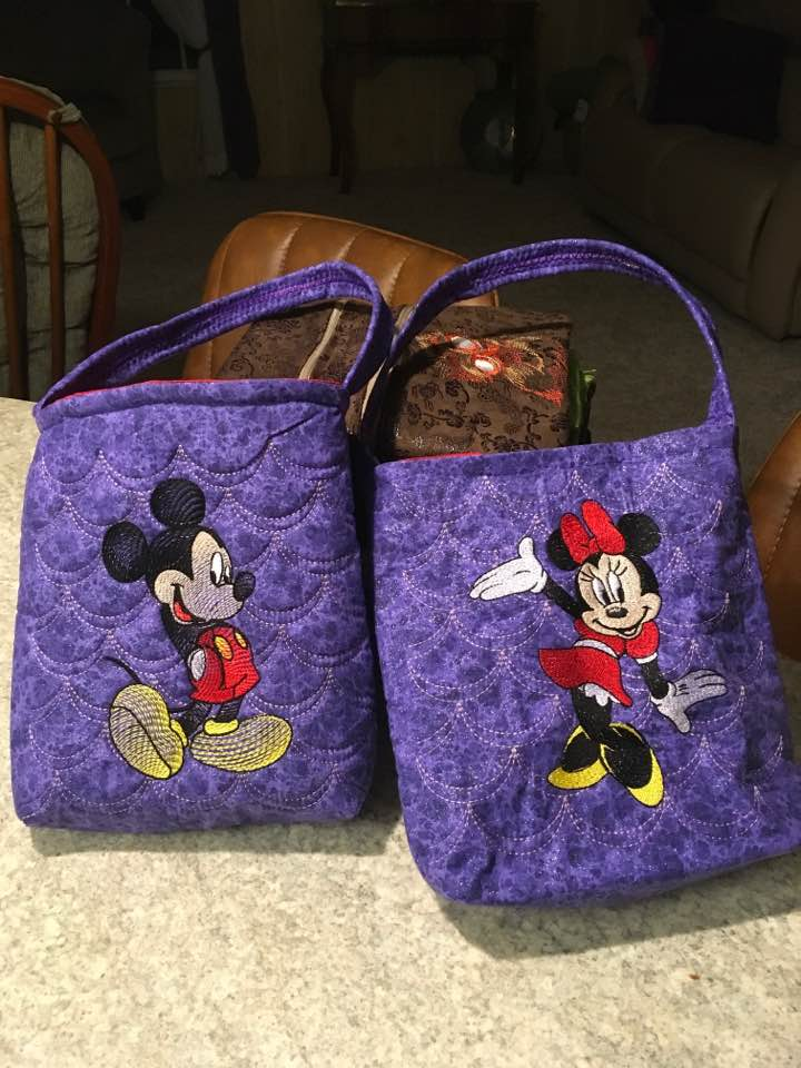 Small bags with mickey and minnie mouse embroidery designs