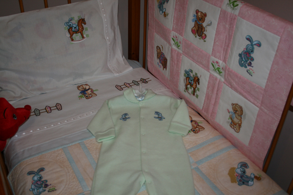 Old toys designs in baby room embroidered