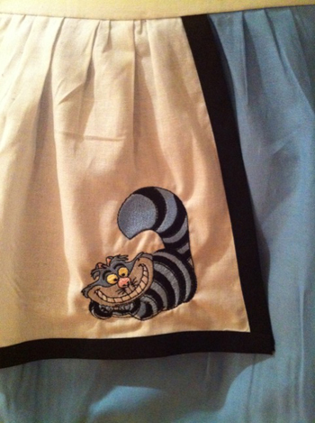 Cheshire cat from Alice in Wonderland embroidered on cute dress