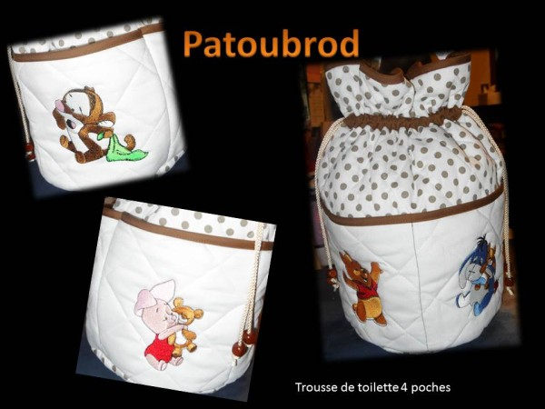 Winnie Pooh with his friends on small bags embroidered