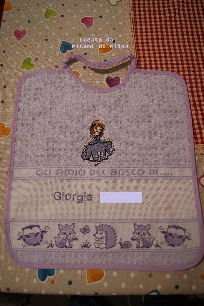 Cute embroidered baby bib with princess Sofia