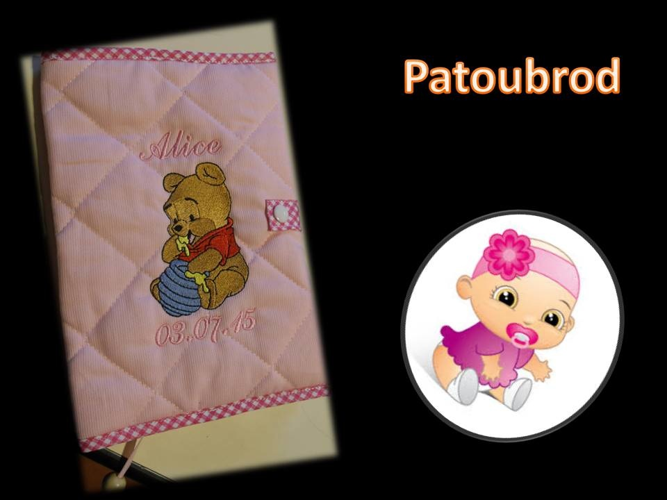 Embroidered cover with baby Pooh with honey pot
