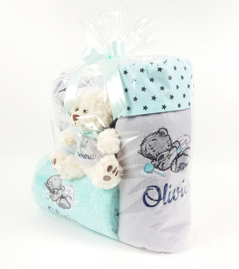 Gift set with Teddy Bear sleeping embroidery design