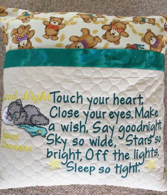 Pillowcase with bear embroidery design