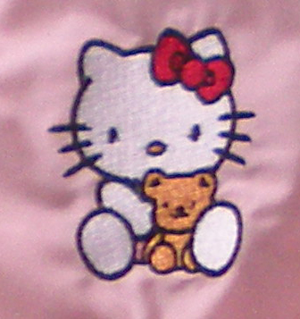 Hello Kitty with small bear design embroidered