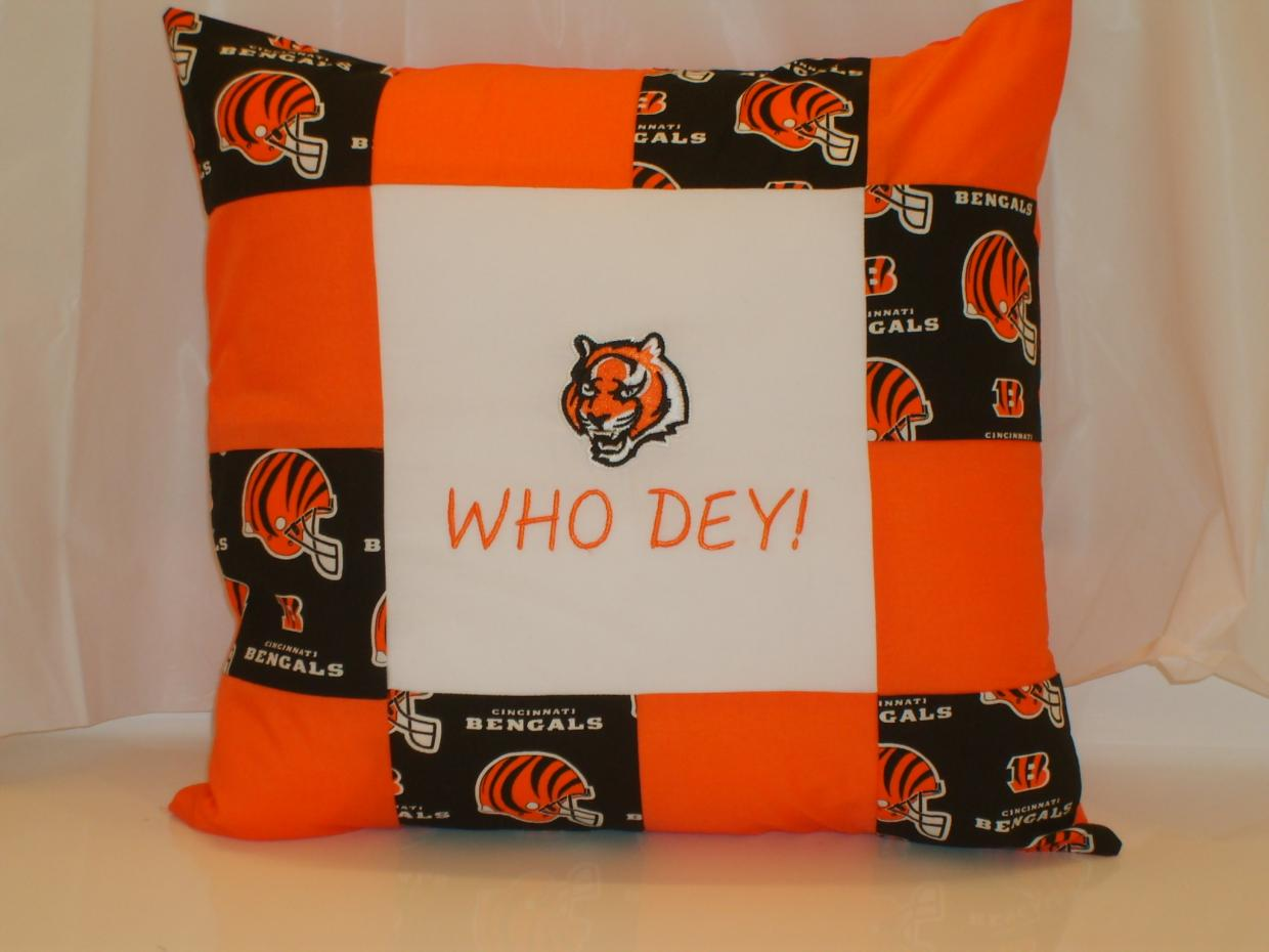 Pillow with tiger machine embroidery baseball logo