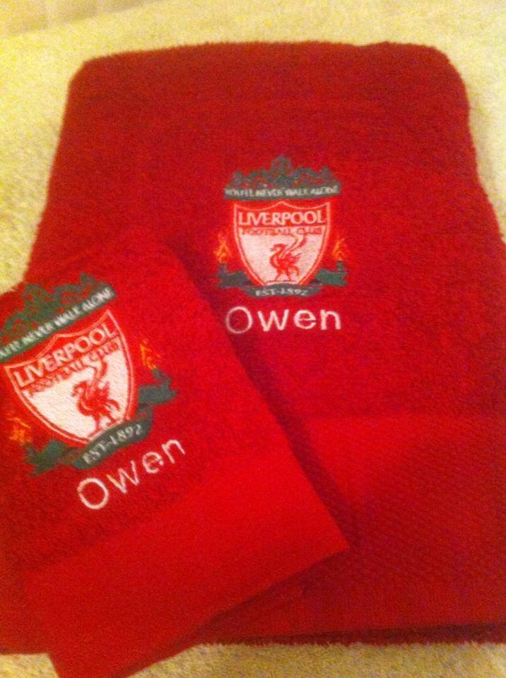 Liverpool football club logo design on towel embroidered