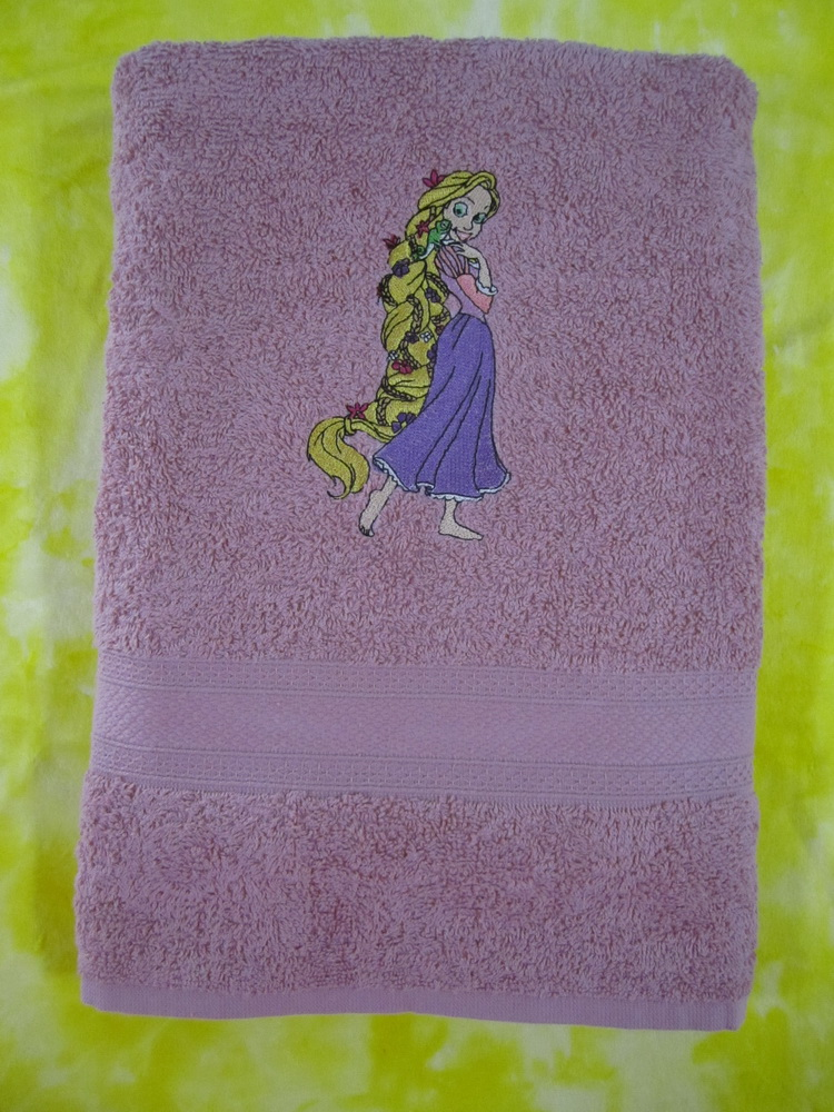 Tangled Beautiful embroidery design on violet bath  towel