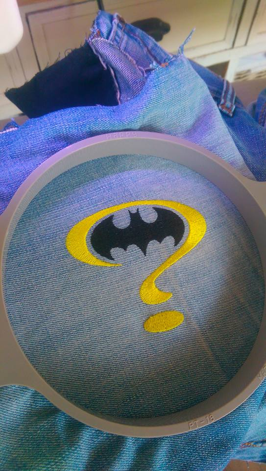 Batman question mark in embroidery hoop