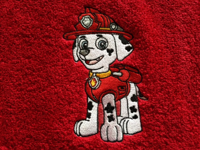 Fireman dog embroidered on towel