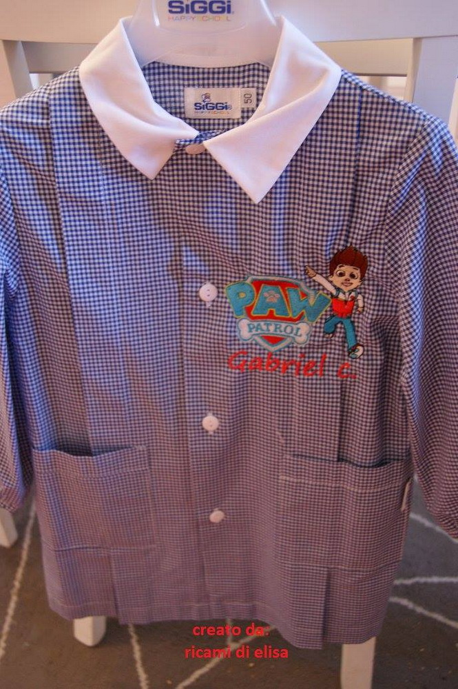 Paw Patrol designs embroidered on boy's shirt