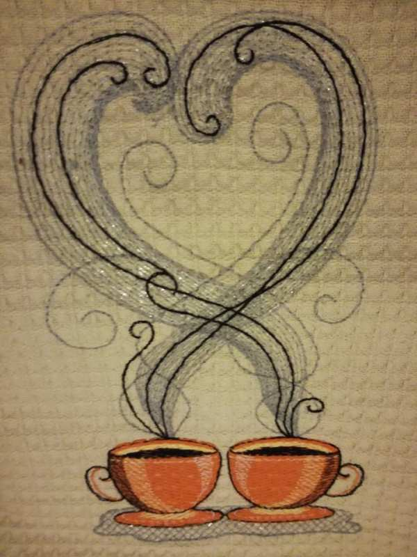 Coffee theme free embroidered design