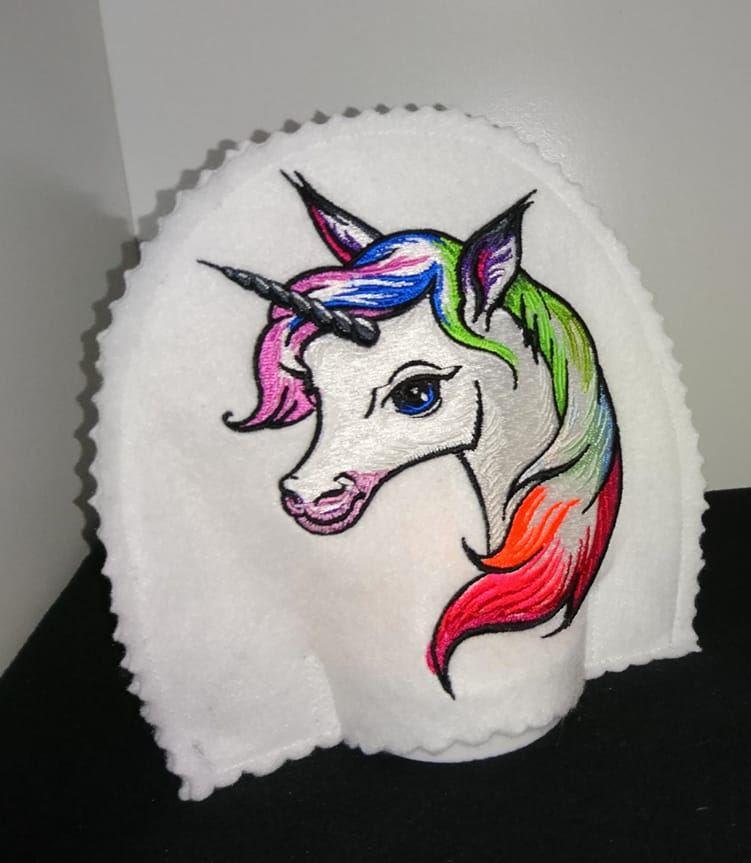 Hot cover Rainbow Unicorn embroidery design.