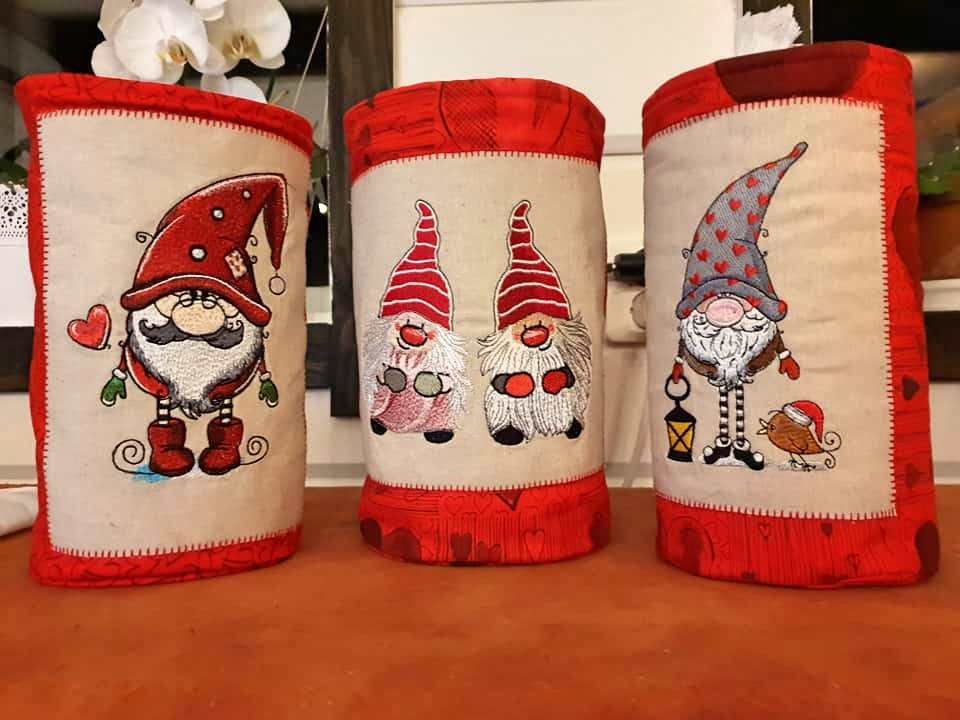Christmas bags set with dwarves embroidery design