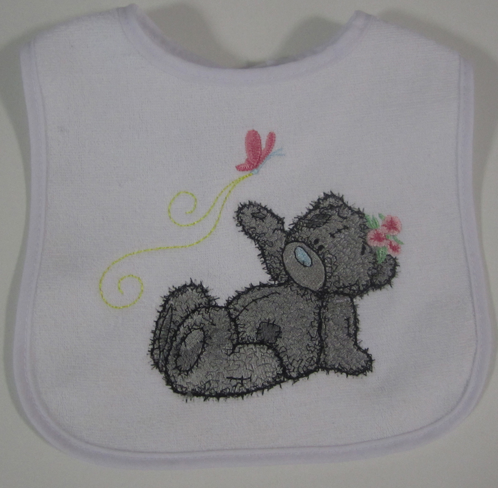 Teddy bear good flight my friend design on bib embroidered