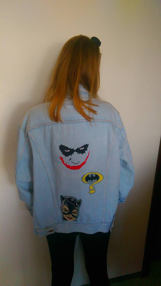 Batman designs on jacket embroidered