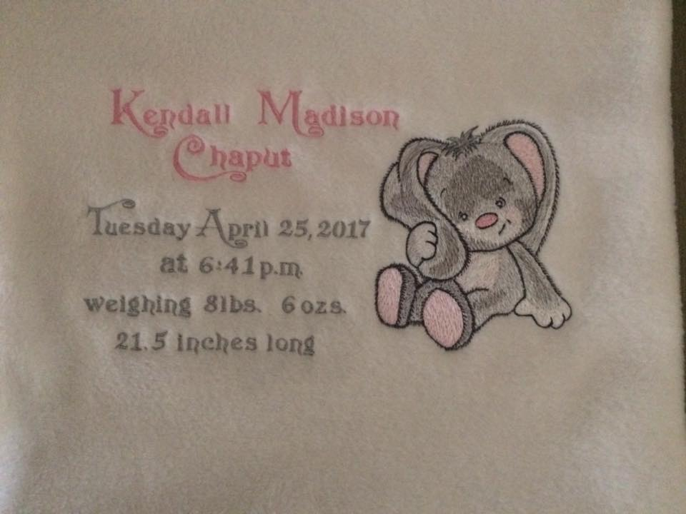 Towel with cute bunny embroidery design