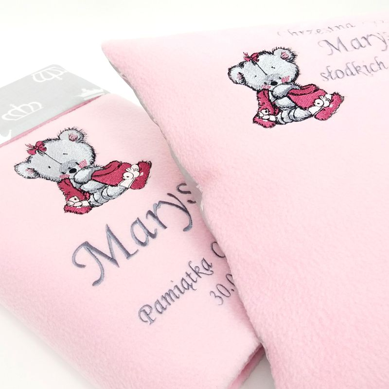 Pink bath towels with Teddy bear after shower embroidery design