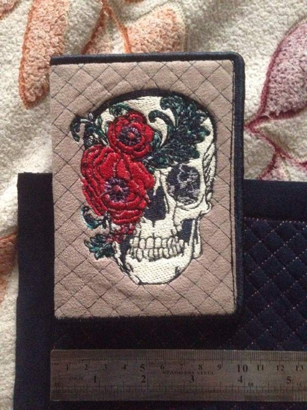 Id cover with skull art embroidery design