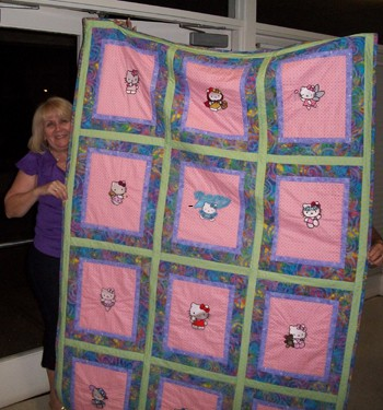 Embroidered quilt with Hello Kitty