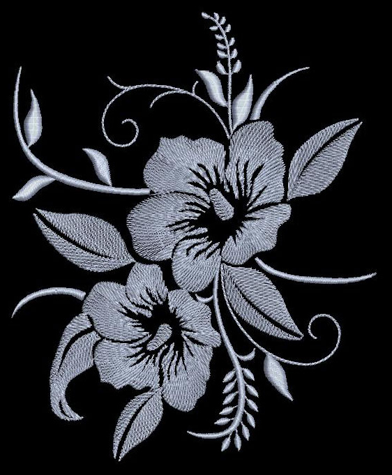 Flowers free machine embroidery design on black fabric